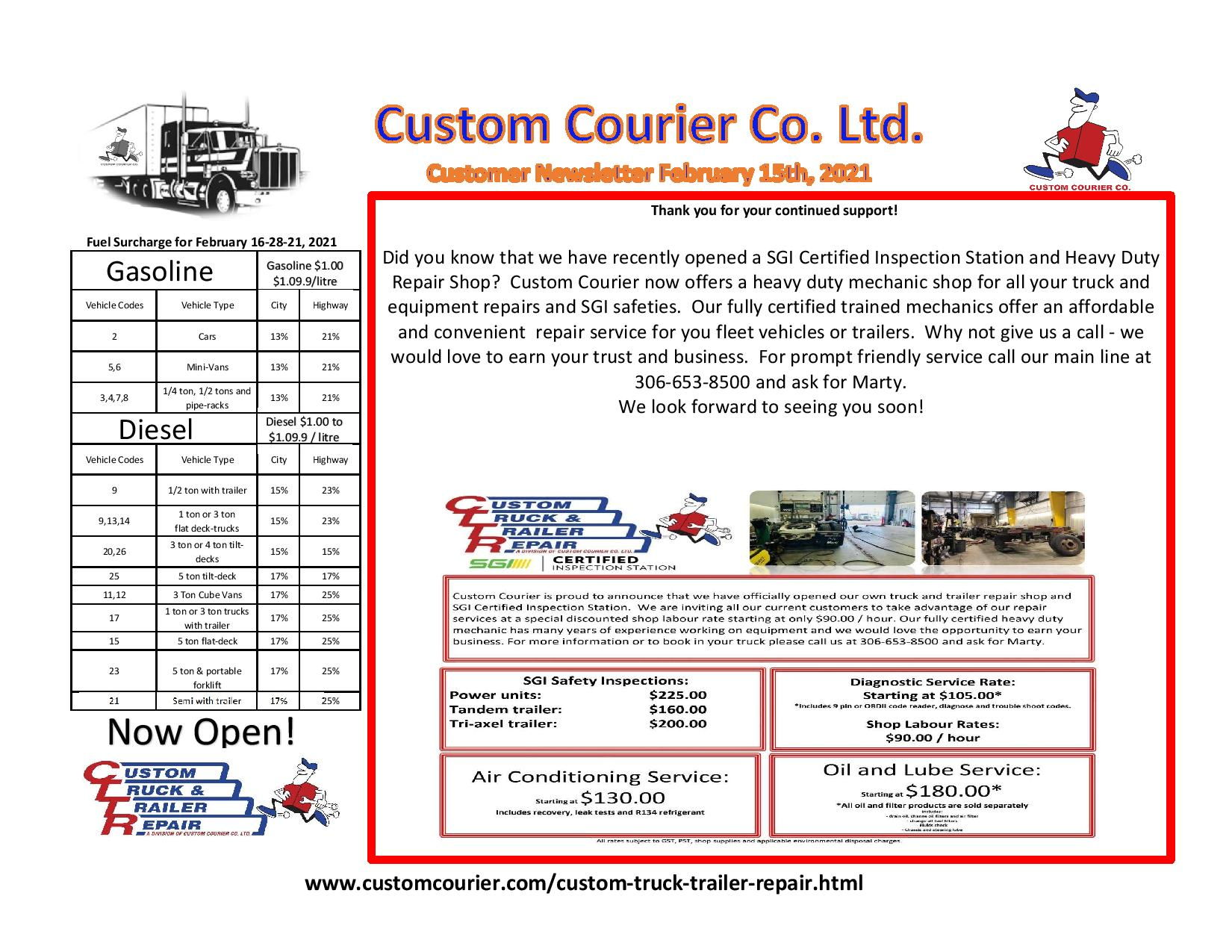Customer Newsletter Standard February 15th 2021